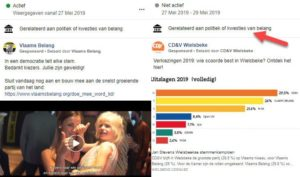 Politieke publicaties via Facebook voor verkiezingen
