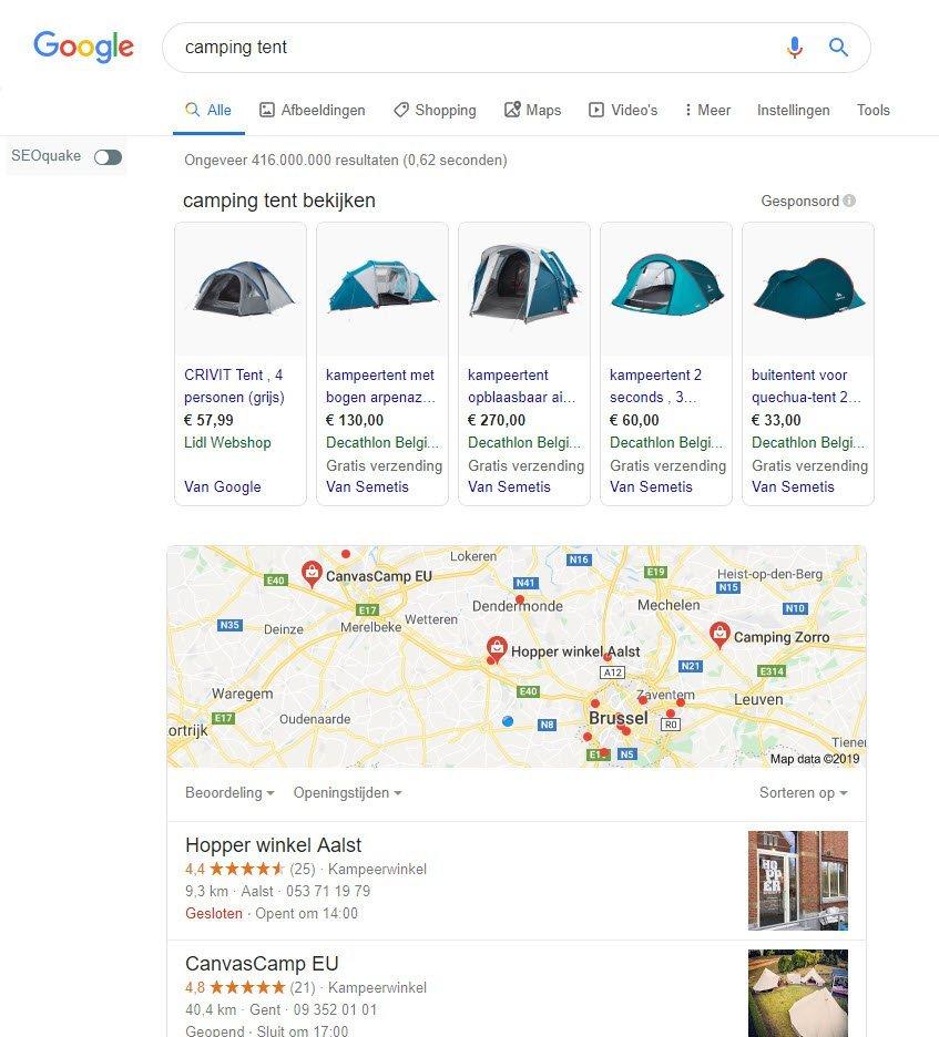 Google shopping campingmateriaal