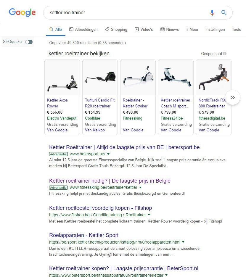Google Shopping Kettler roeitrainer