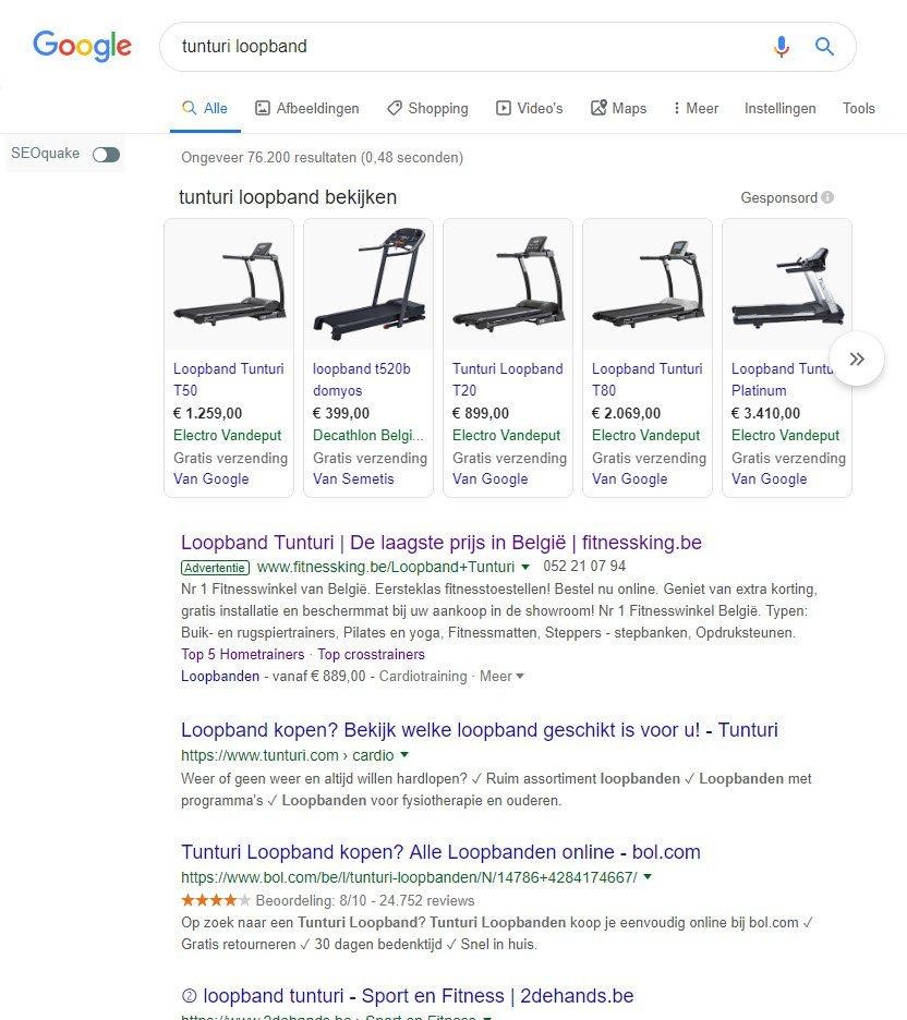 Google Shopping Tunturi loopband