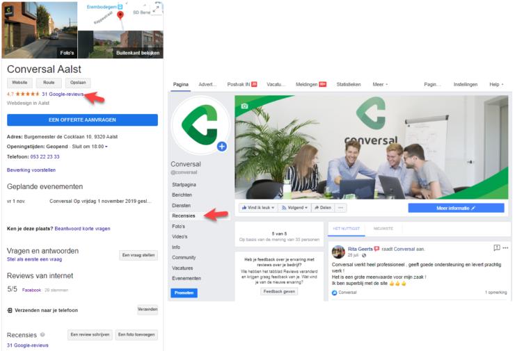 Reviews op Google en Facebook