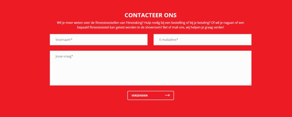 Webshop contactformulier