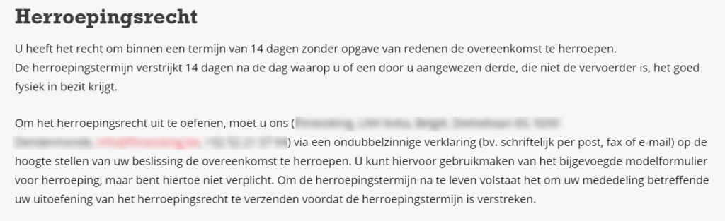 Webshop herroepingsrecht