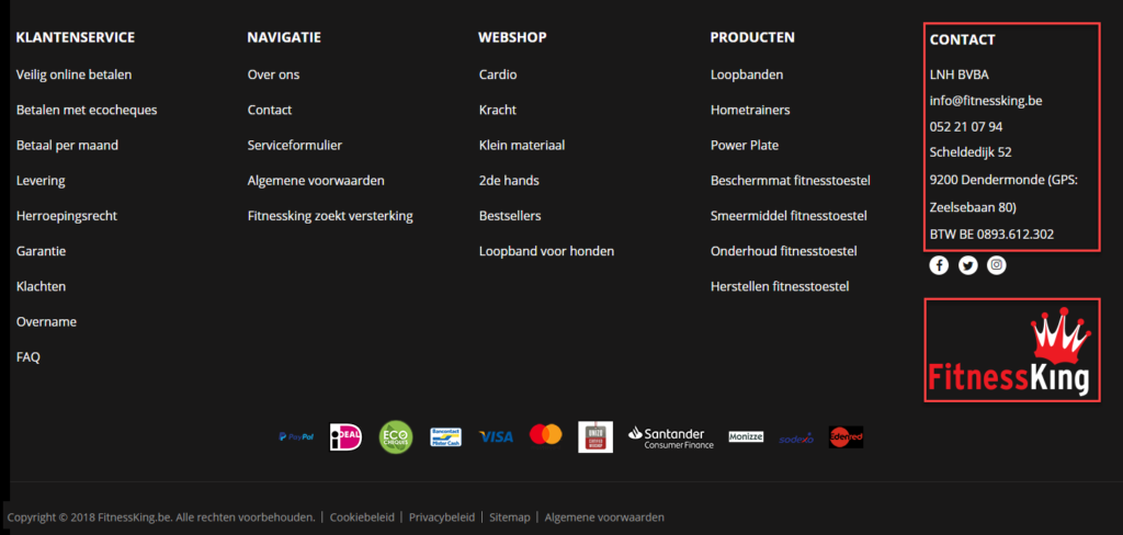 Webshop bedrijfsinformatie in footer