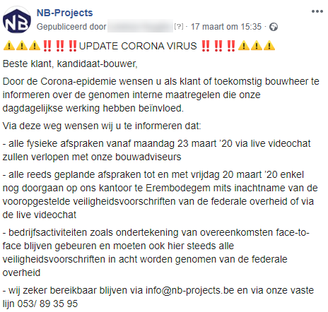 Facebook post NB-Projects