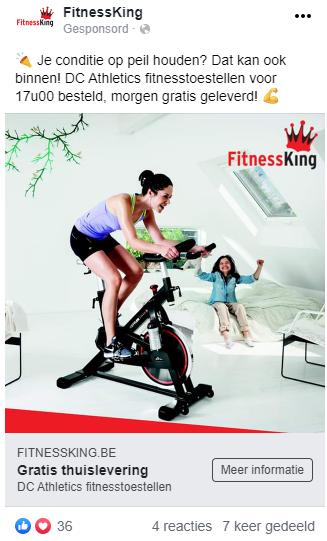 Fitnessking Facebook advertentie