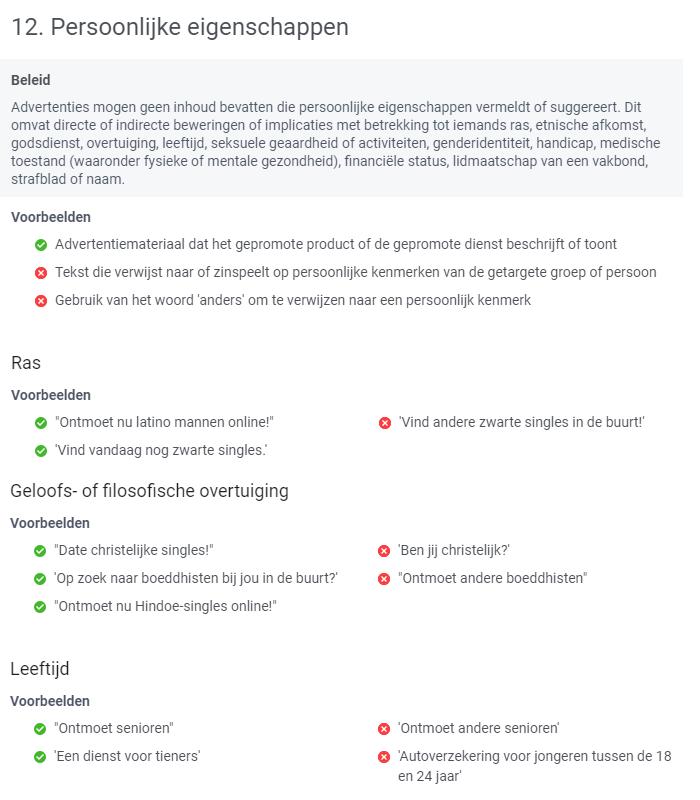 Afgekeurde facebook advertenties door persoonlijke eigenschappen beleid