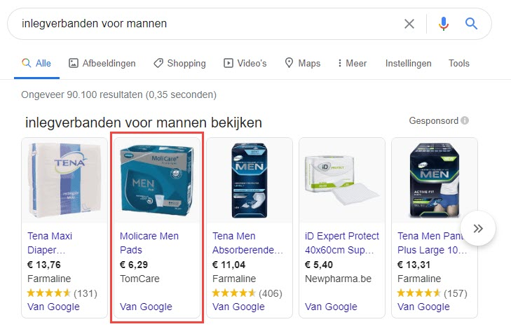 Tomcare Google Shopping