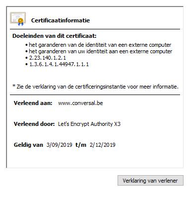 SSL Certifiaat Conversal