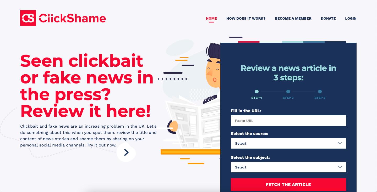 Een toonaangevende website zoals die van Clickshame?