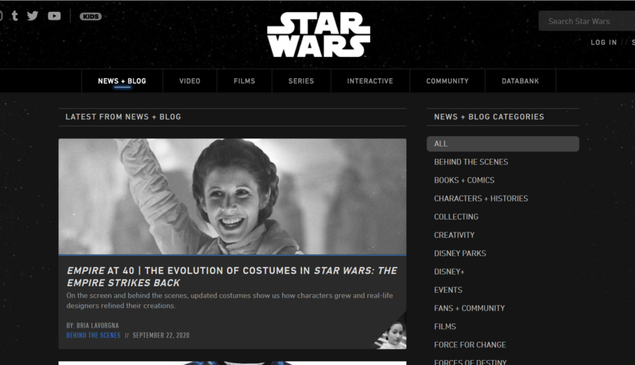Website Star Wars in WordPress
